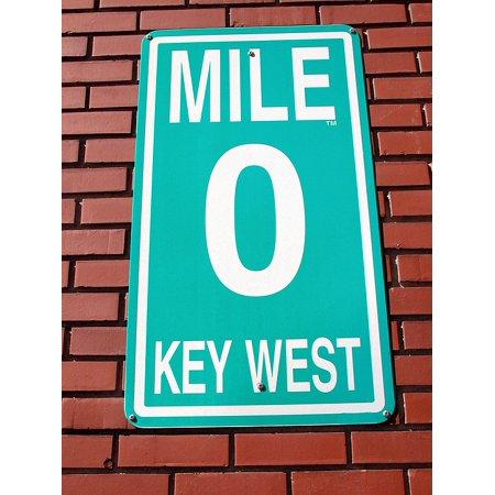 LAMINATED POSTER Florida Mile Marker Zero Sign Background Key West Poster Print 24 x 36 ()
