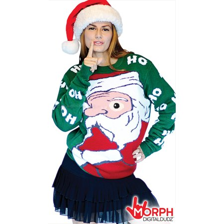 Digital Dudz Adult Peeking Santa Ugly Christmas Sweater, Green Red White (Digital Dudz Christmas)