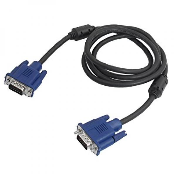 SODIAL(R) Black Blue VGA 15 Pin Male to Male Plug Computer Monitor Cable Wire Cord 1.5M