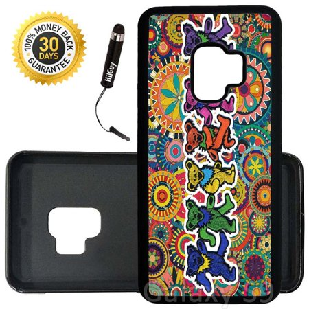 Custom Galaxy S9 Case (Grateful Dead and Dancing Bears) Edge-to-Edge Rubber Black Cover Ultra Slim | Lightweight | Includes Stylus Pen by Innosub (Dancing Bear Grateful Dead)