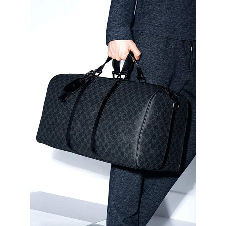 Gucci Duffle Luggage GG Supreme Carry On Bag Black Signature GG Leather New 1 - Gucci Signature Trim