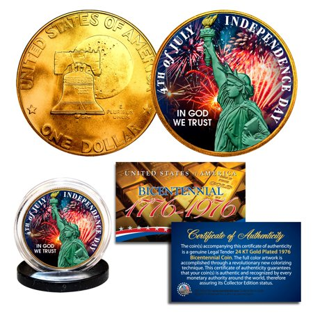 - INDEPENDENCE DAY July 4th - 1976 IKE Eisenhower Dollar U.S. Coin 24K Gold Plated