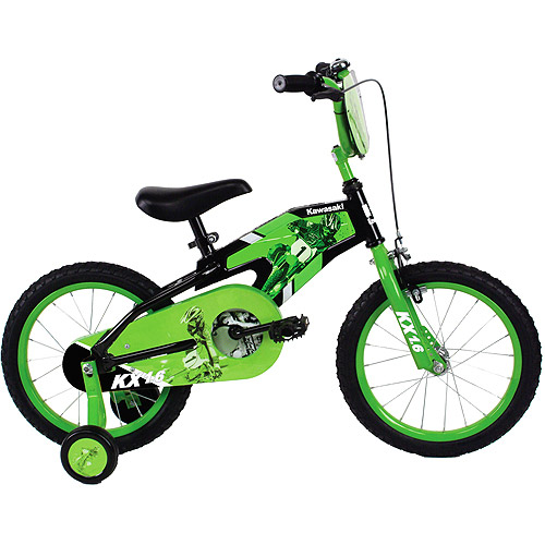 "16"" Kawasaki Boys' Bike with Training Wheels"