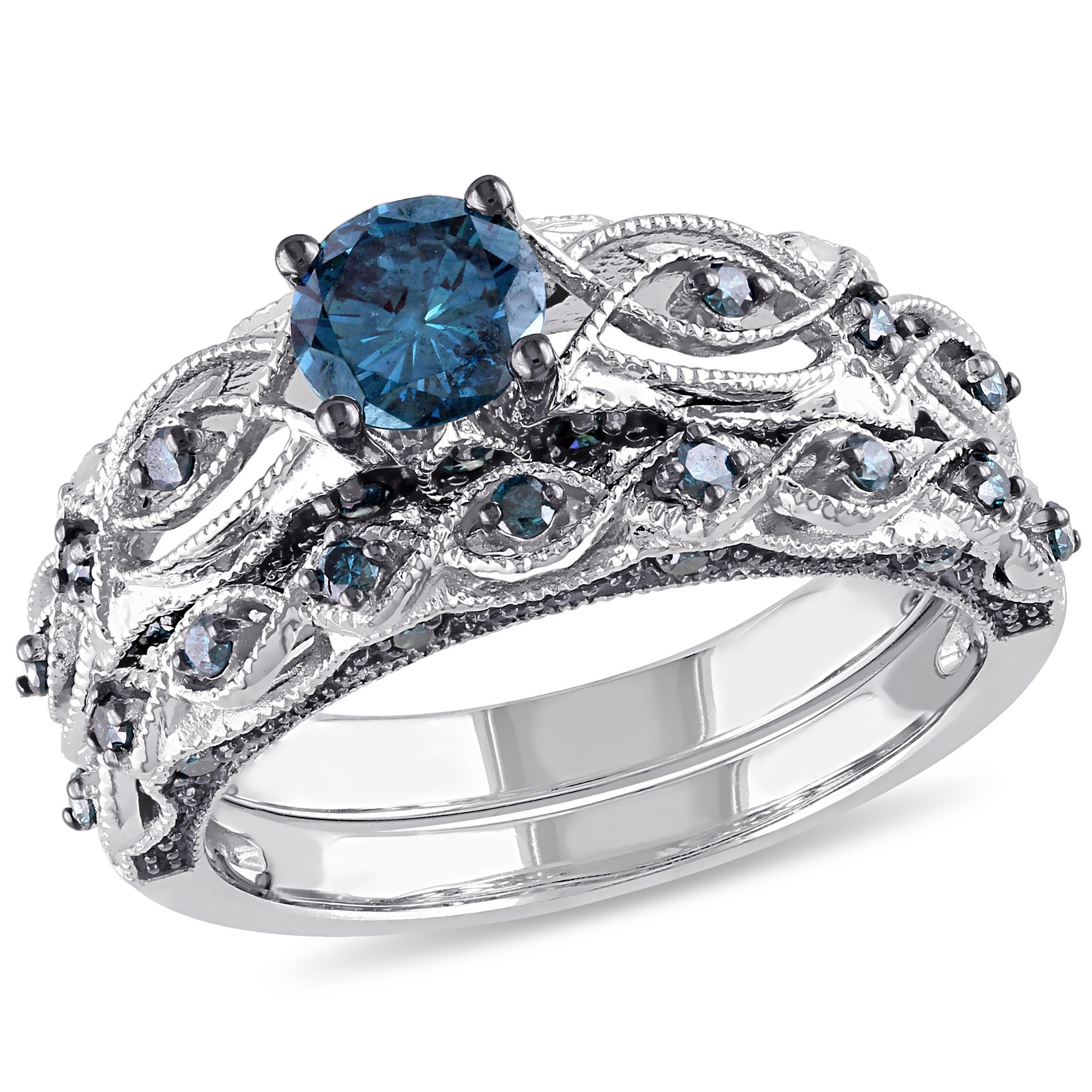 Tangelo 1 Carat T.W. Treated Blue Diamond 10kt White Gold Vintage Filigree Bridal Set by Delmar Manufacturing LLC