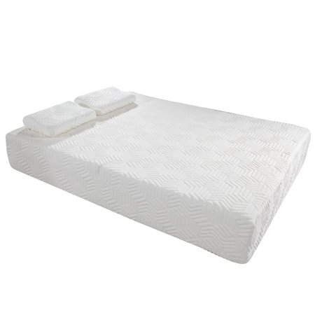 Ktaxon 10  Two Layers Traditional Firm High Softness Cotton Mattress With 2 Pillows  Full Size  White