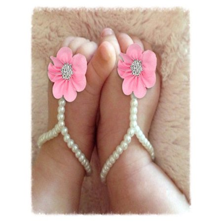 1Pair Infant Pearl Chiffon Barefoot Toddler Foot Flower Beach Sandals