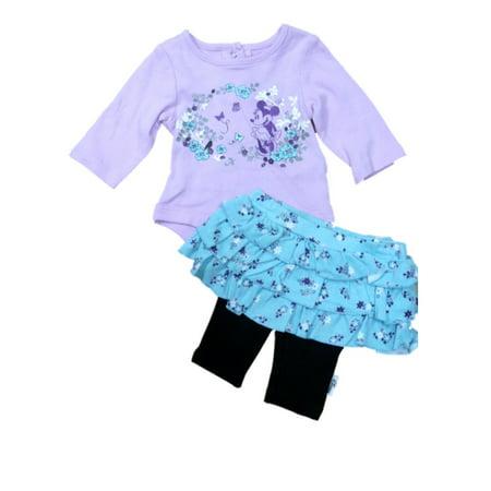 Disney Minnie Mouse Infant Girls Purple   Blue Shirt   Skirt Legging Outfit
