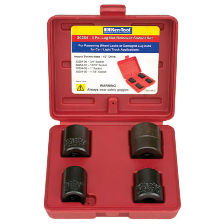 KEN TOOL 30254 4 PC LUG NUT REMOVAL SET ()