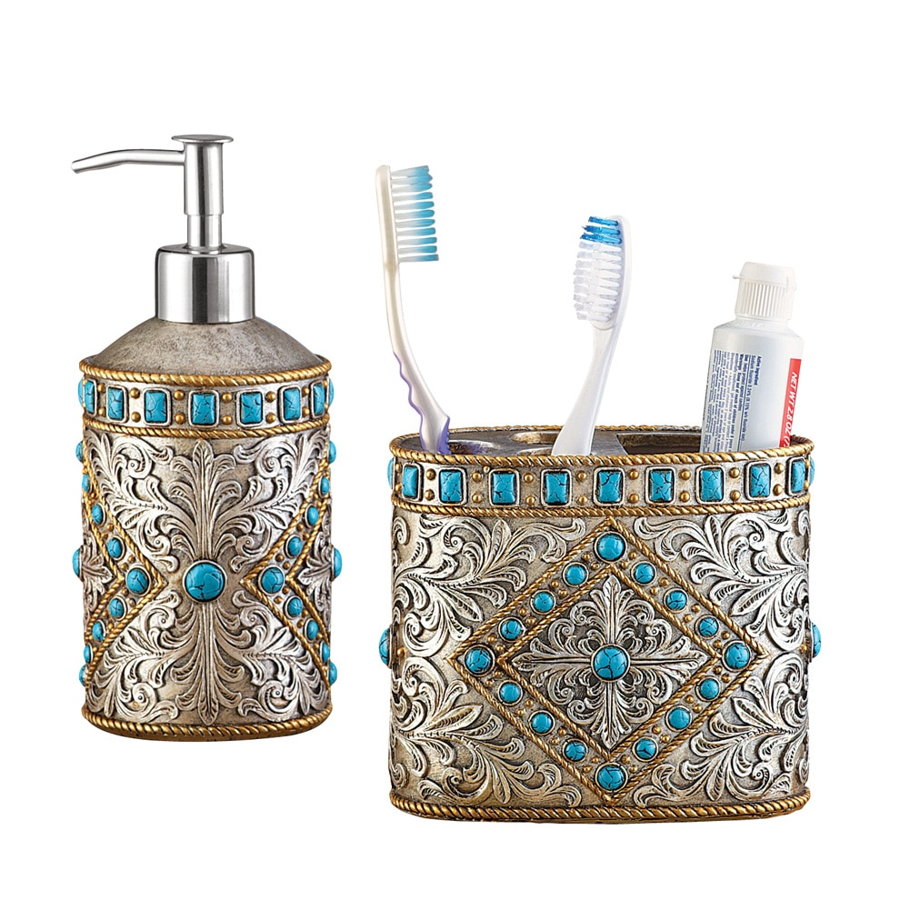 Antique Southwest Turqouise 2 Piece Bath Accessories Set, Includes Soap Pump and... by Collections Etc