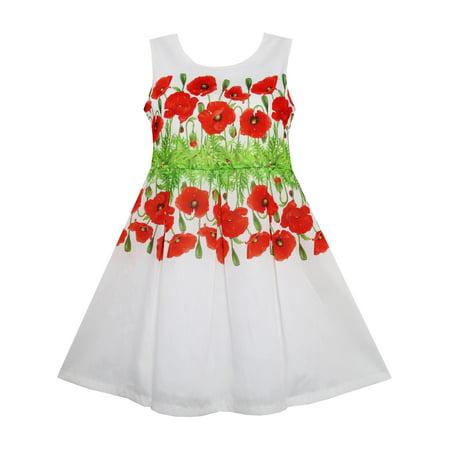 Girls Dress Flower Garden Grass Print Elegant Chinese Style 4 (Chinese Attire For Kids)