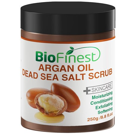Biofinest Argan Oil Dead Sea Salt Scrub: with Aloe Vera, Almond Oil, Vitamin E, Essential Oils - Best