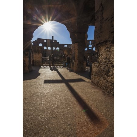 Sunburst Through An Archway At The Colosseum And A Shadow Of A Cross Rome Italy Posterprint