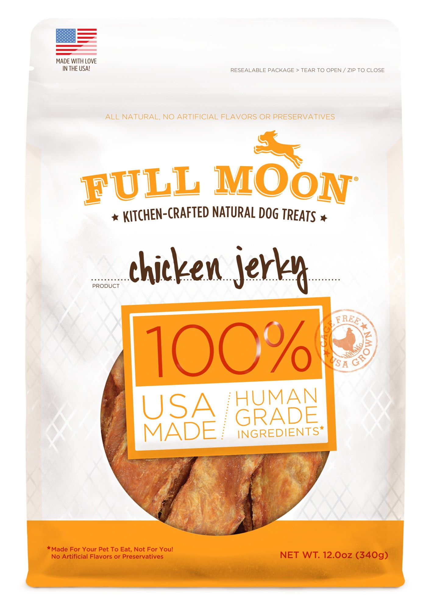 Full Moon All Natural Human Grade Dog Treats, Chicken Jerky, 12 Ounce by Perdue Foods, LLC