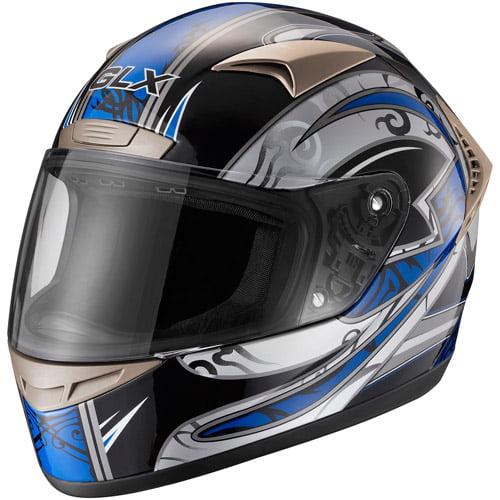 GLX DOT Tribal Full Face Motorcycle Helmet, Blue, S