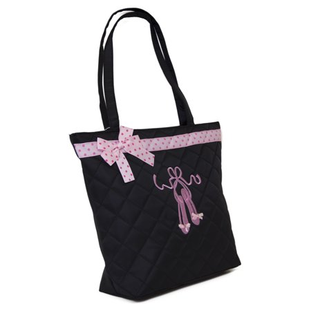 Black Quilted Dance Tote Bag with Embroidered Toe Shoes