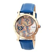 Betsy Mop Leather-Band Ladies Watch - Rose Gold/Blue