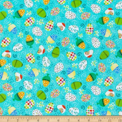 Quilting Treasures Halloween Fabric (Happy Easter~Easter Eggs/Aqua Cotton Fabric by Quilting)