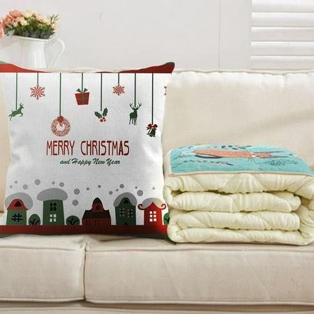 Linen Color  Retro Christmas Cotton Line Pillowcase Bedroom Sofa Decoration Cushion Cover