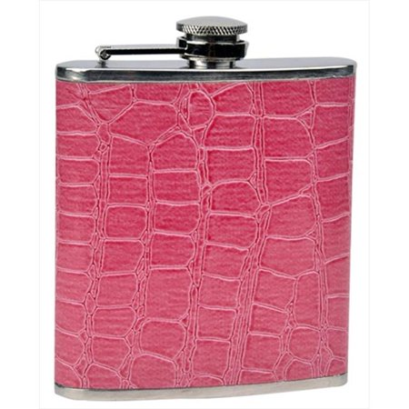 FJX Wholesale HFL-W020P 6oz Pink Faux Leather Wrapped Stainless Steel Hip Flask - Punk Wholesale