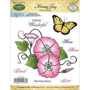"""JustRite Papercraft Mini Cling Stamps 3.5""""X4""""-Morning Glory"""