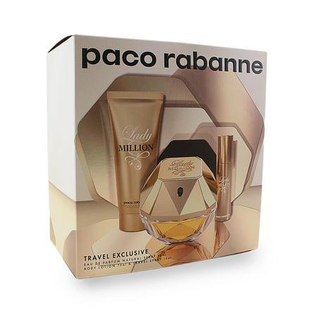 Lady Million 3 Pc. Gift Set ( Eau De Parfum Spray 2.7 Oz + Sensual Body Lotion 2.5 Oz + 1 Travel Spr Eau De Parfum Body Lotion