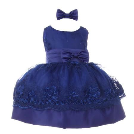 Shanil Inc. - Baby Girls Royal Blue Floral Embroidered Bow Headband Flower  Girl Dress - Walmart.com 789c58f8899