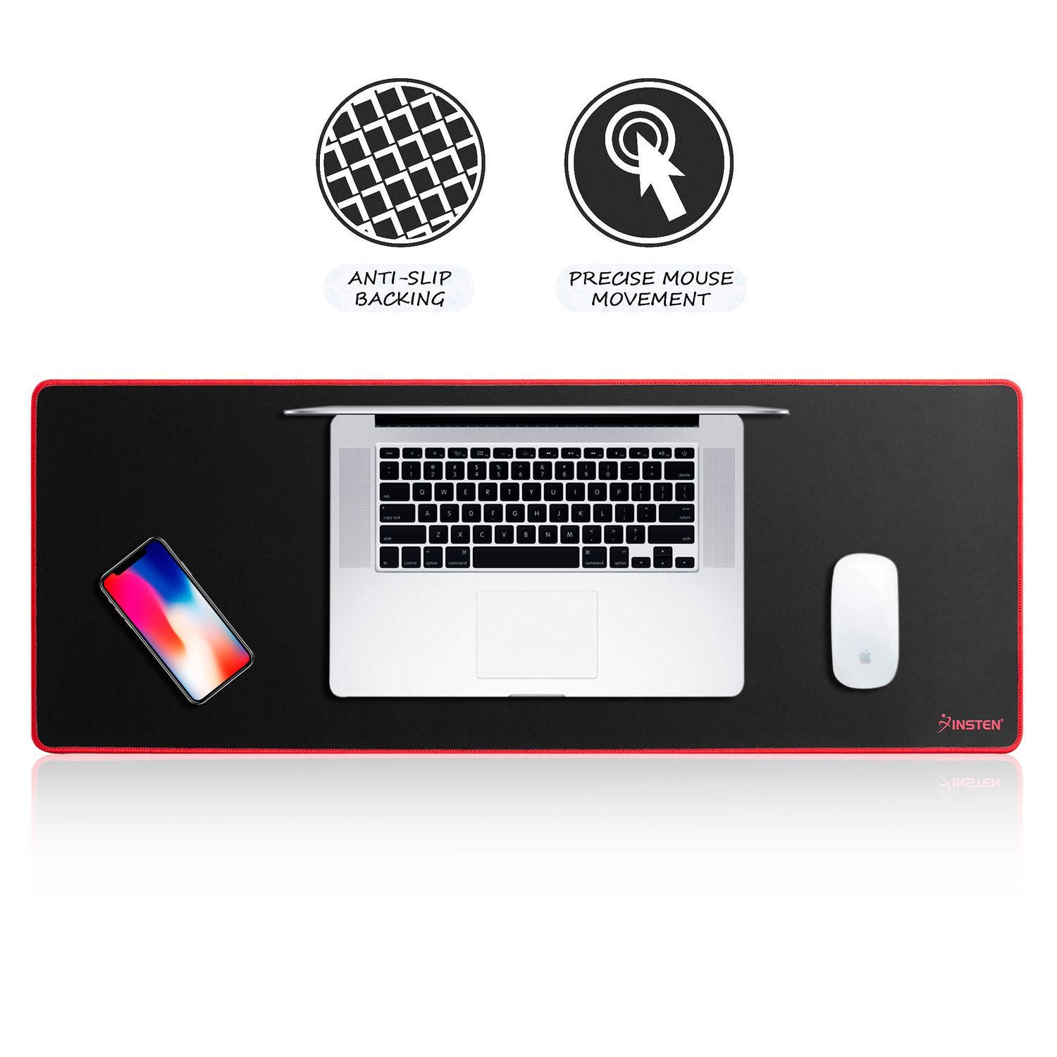 "Insten Extended Mouse Pad Long Mat (Size: 31.5"" x 12"") with Low Friction Surface & Non-Slip Bace for Desktop Mouse Keyboard Professional E-Sports Game Universal Black/Red"