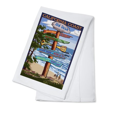 San Diego, California - Destinations Sign - Lantern Press Artwork (100% Cotton Kitchen