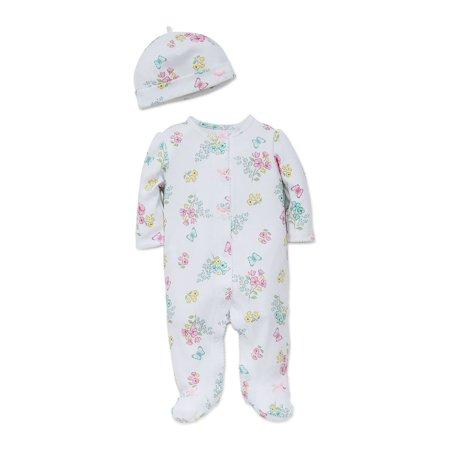 Baby Girls 2-Piece Floral Printed Footie and Hat (Kensie Girl Printed)