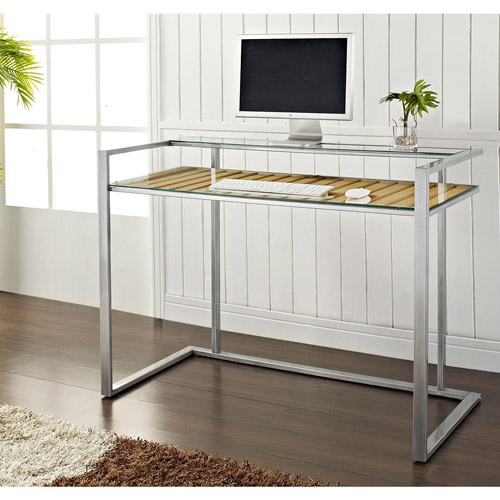 Walker Edison Glass Metal Computer Desk with Wood Accents - Silver / Natural