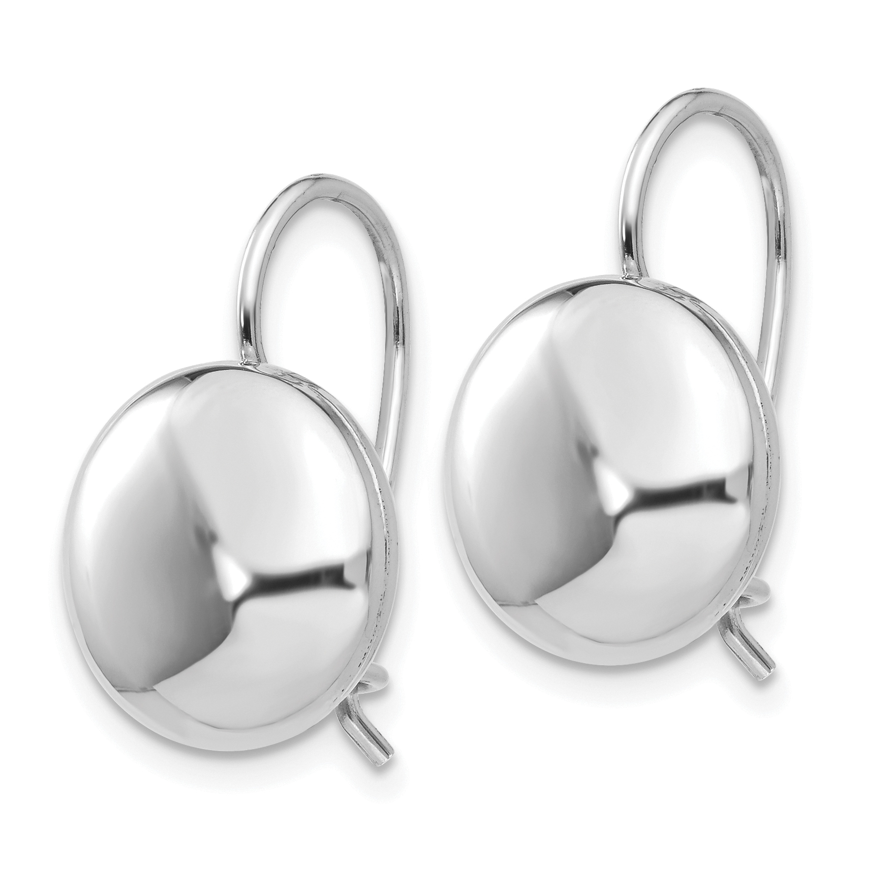 14k White Polished 12mm Button Kidney Wire Earrings