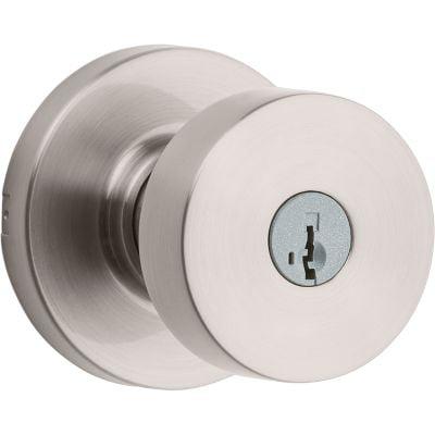 Kwikset Pismo Round Keyed Entry Knob featuring SmartKey Security™ in Satin Nickel Kwikset Circa Entry Lock Knob