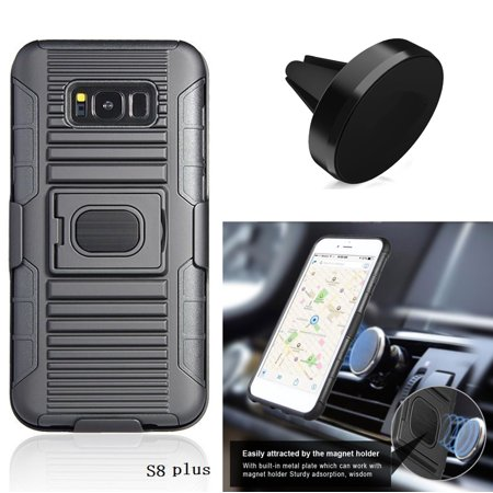 promo code 34ff9 ec5a9 Phone Case for Straight Talk Samsung Galaxy S8+, S8 Plus (G955U1C), Holster  Build-In Metal Plate Cover with Magnetic Car Mount ( Hoslster Black Edge ...