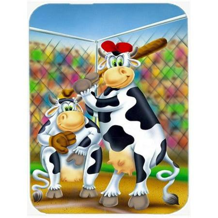 Carolines Treasures APH0534LCB Cow Playing Baseball Glass Cutting Board, Large - image 1 de 1