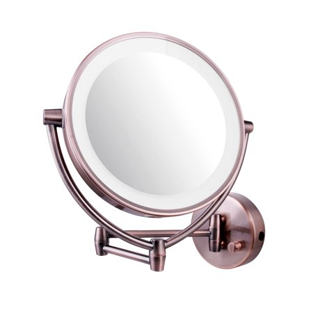 Ovente Mlw45ab 9 5 Inch Led Lighted Wall Mount Makeup Mirror  1X 10X Magnification  Antique Brass