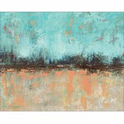 Abstract Distressed Horizon Line Contemporary Modern Trendy Abstract Painting Tan & Blue Canvas Art by Pied Piper Creative