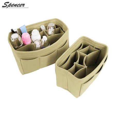 Spencer Women Travel Felt Insert Handbag Organizer Compartment Bag Purse Large liner Makeup Cosmetic Pouch Storage Tote Bag