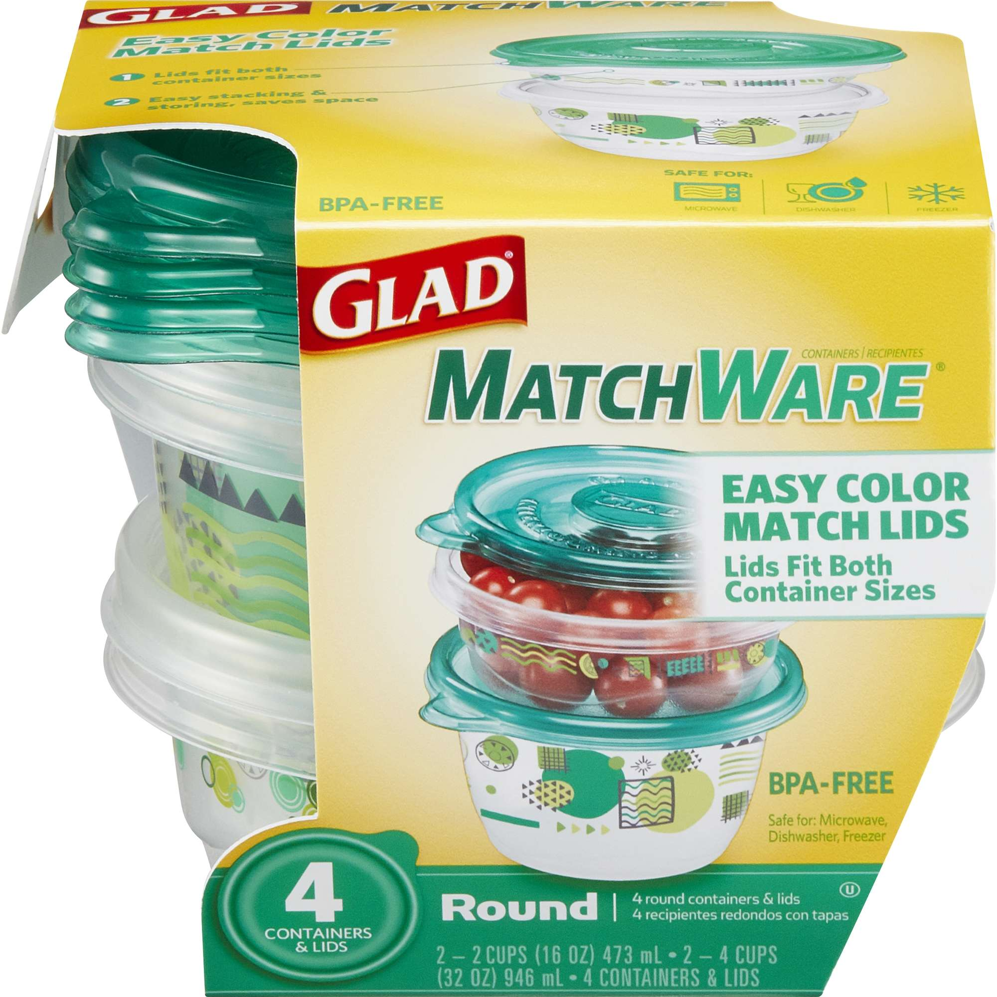 Glad Food Storage Containers, Glad MatchWare Round Containers, Two 16 oz, Two 32 oz