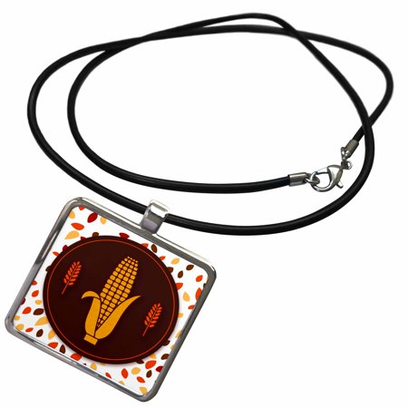 3dRose Corn on the Cob with Wheat Accents Autumn Harvest Faux Glitter - Necklace with Pendant (ncl_264330_1)