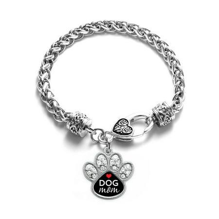 Dog Mom Pave Paw Charm Braided Bracelet](Mom Charm Bracelet)