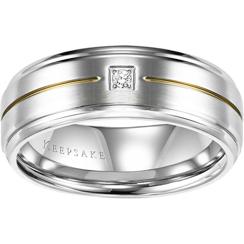 Keepsake Men's Callum Diamond Accent Stainless Steel Wedding Band, 8mm