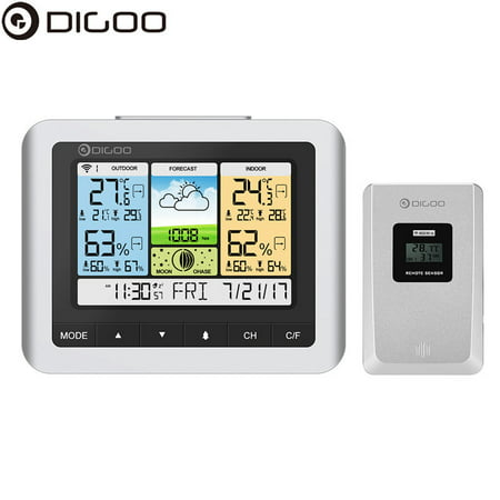 Digoo DG-TH8888Pro Wireless Weather Station with Outdoor Sensor ,Large LCD Screen,Thermometer Humidity Indoor & Outdoor (°C/°F) Forecast Sensor