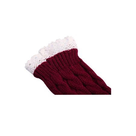 Unisex Winter Lace Warmers Ribbing Thumb Hole Gloves Burgundy 1 Pair - image 2 of 7