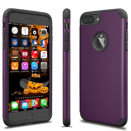 iPhone 8 Plus Case, iPhone 7 Plus Sturdy Case, Tekcoo [TBaron] Bumper Case Shock Absorbing Hard Hybrid Defender Cute Cover [Scratch Proof] Plastic Shell + TPU Rubber Inner [Purple]
