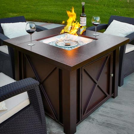 BARTON Outdoor Fire Pit Heater Glass Fire Stone LPG 40000BTU, Bronze Hammer