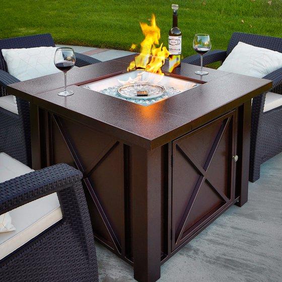 Barton Premium Outdoor Fire Pit Heater Glass Fire Stone LPG 40000BTU,  Hammered Bronze Hammer