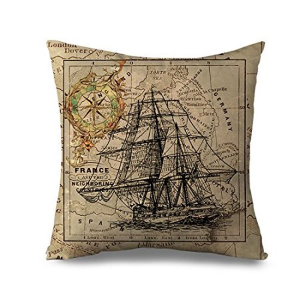 Popeven Cute Ship With Compass Pillow cover Cotton Canvas Decorative Throw Pillow Case ,Cushion Cover for Sofa or Living Room 18x18''Home Decor