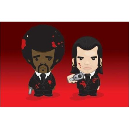 Samuel Jackson And John Travolta   Pulp Fiction 36X24 Cartoon Movie Art Print Poster