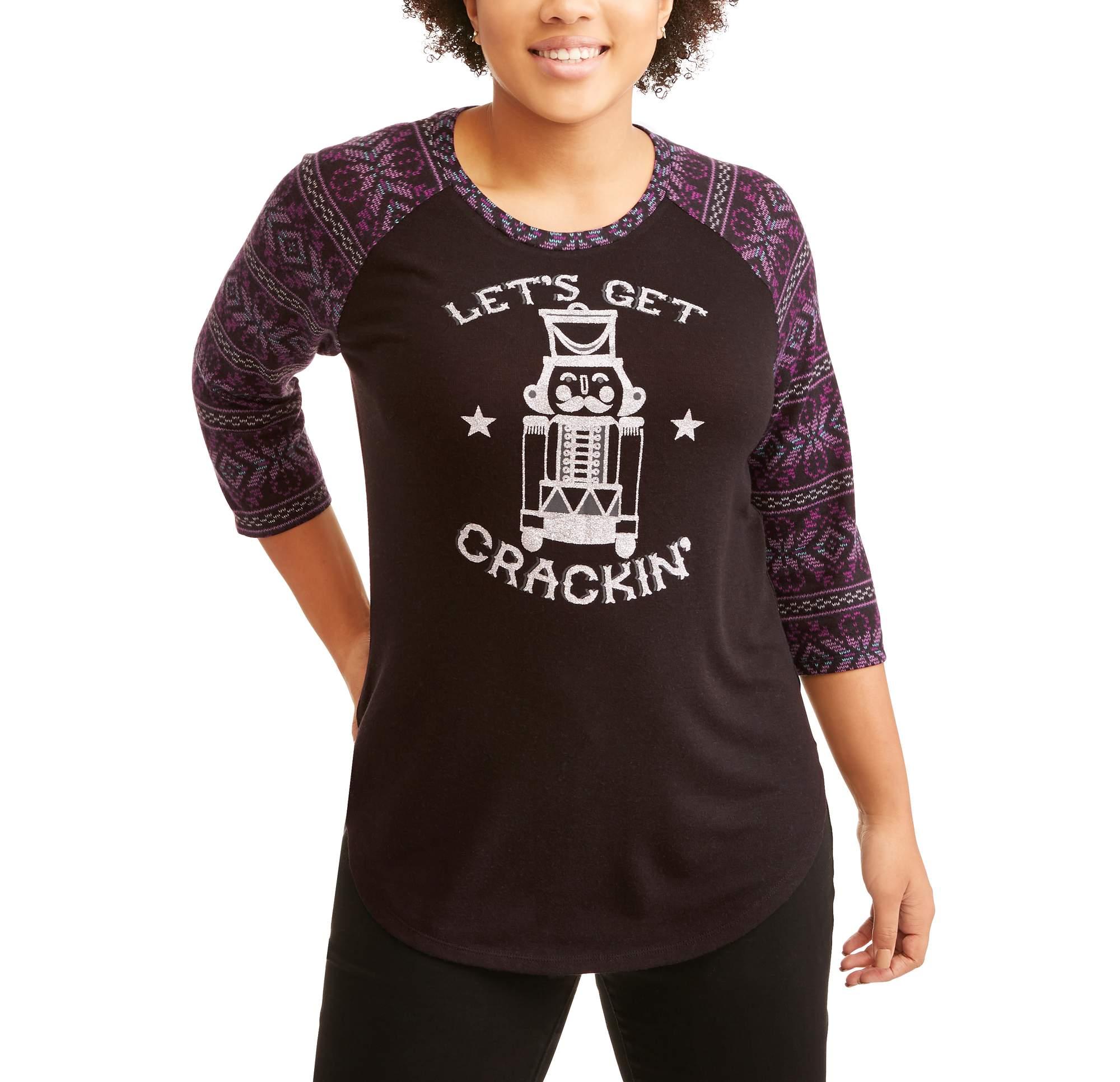 Junior Plus Holiday Graphic Printed Raglan Sleeve T-Shirt