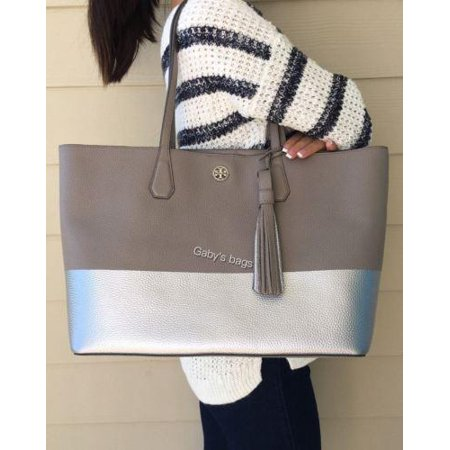 3cd50f8d03c Tory Burch - Tory Burch Perry Leather Tote Colorblock French Gray Silver  Tassel Large - Walmart.com